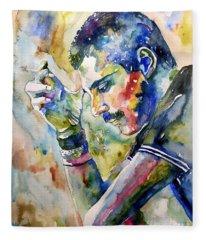 Freddie Mercury Watercolor Fleece Blanket