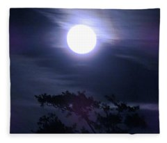 Full Moon Falling Fleece Blanket