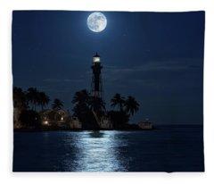 Full Moon Over Hillsboro Lighthouse In Pompano Beach Florida Fleece Blanket