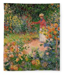 Garden At Giverny Fleece Blanket
