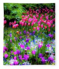 Garden Flowers With Tulips Fleece Blanket