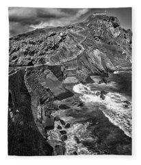 Gaztelugatxe Dragonstone Bw Fleece Blanket