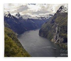 Geiranger Fjord Fleece Blanket