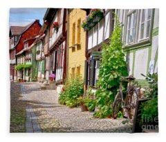 German Old Village Quedlinburg Fleece Blanket