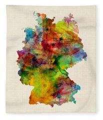 Germany Watercolor Map Deutschland Fleece Blanket