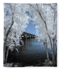 Gervais St. Bridge In Surreal Light Fleece Blanket