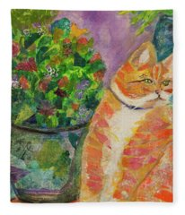 Ginger With Flowers Fleece Blanket