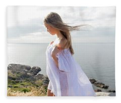 Girl In A White Dress By The Sea Fleece Blanket