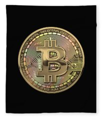 Gold Bitcoin Effigy Over Black Canvas Fleece Blanket