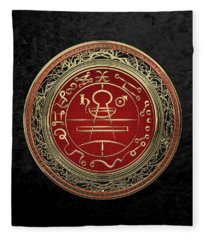Gold Seal Of Solomon - Lesser Key Of Solomon On Black Velvet  Fleece Blanket