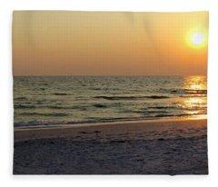 Golden Setting Sun Fleece Blanket