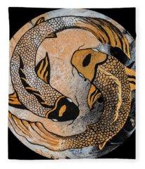 Golden Yin And Yang Fleece Blanket