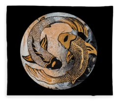Golden Yin And Yang Fleece Blanket