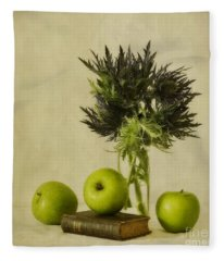 Green Apples And Blue Thistles Fleece Blanket
