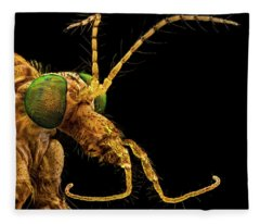 Green Eyed Crane Fly Fleece Blanket
