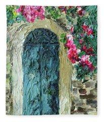 Green Italian Door With Flowers Fleece Blanket