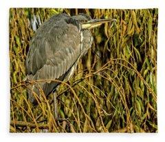 Grey Heron Fleece Blanket