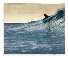 Hawaii Bodysurfing Sunset Polihali Beach Kauai  Fleece Blanket