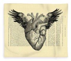 Heart With Wings Fleece Blanket
