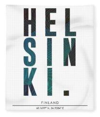 Helsinki, Finland - City Name Typography - Minimalist City Posters Fleece Blanket