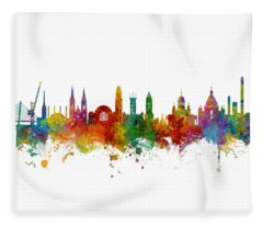 Helsinki Finland Skyline Fleece Blanket