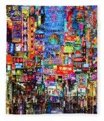 Hong Kong City Nightlife Fleece Blanket