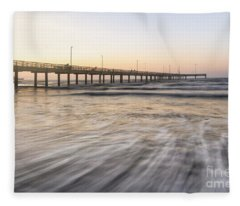 Horace Caldwell Pier Port Aransas Texas Fleece Blanket