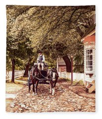 Horse Drawn Wagon Fleece Blanket