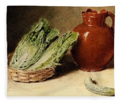 Hunt William Henry Still Life With A Jug A Cabbage In A Basket And A Gherkin William Henry Hunt Fleece Blanket