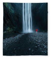 Iceland Waterfall Fleece Blanket