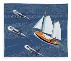 In The Company Of Whales Fleece Blanket
