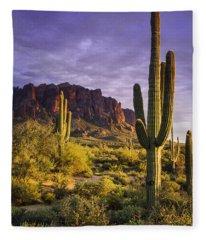 In The Desert Golden Hour  Fleece Blanket