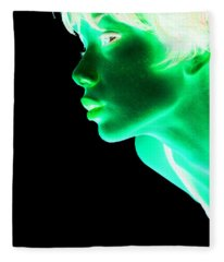Inverted Realities - Green  Fleece Blanket