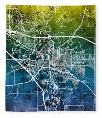Iowa City Map Fleece Blanket