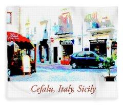 Italian City Street Scene Digital Art Fleece Blanket