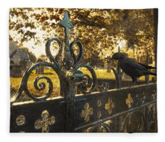 Jackdaw On Church Gates Fleece Blanket