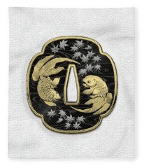 Japanese Katana Tsuba - Twin Gold Fish On Black Steel Over White Leather Fleece Blanket