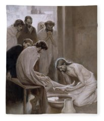 Jesus Washing The Feet Of His Disciples Fleece Blanket