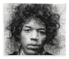 Rock Guitarist Jimi Hendrix Drawings Fleece Blankets