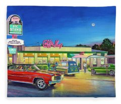 Muscle Car Cruise Night Fleece Blanket