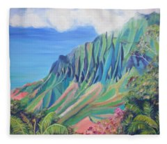 Kalalau Valley Fleece Blanket