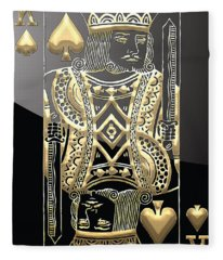 King Of Spades In Gold On Black   Fleece Blanket