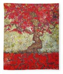 Lady In Red Fleece Blanket