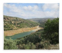 Lake Near Iznajar Fleece Blanket
