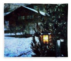 Lantern In The Woods Fleece Blanket
