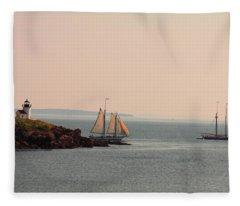 Leaving Camden Harbor Fleece Blanket