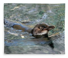 Little Penguin In The Water Fleece Blanket