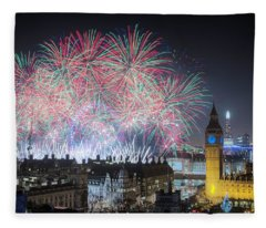 London New Year Fireworks Display Fleece Blanket