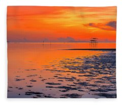 Fleece Blanket featuring the photograph Lonely Hut In Sea At Sunrise by Pradeep Raja PRINTS