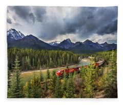 Long Train Running Fleece Blanket